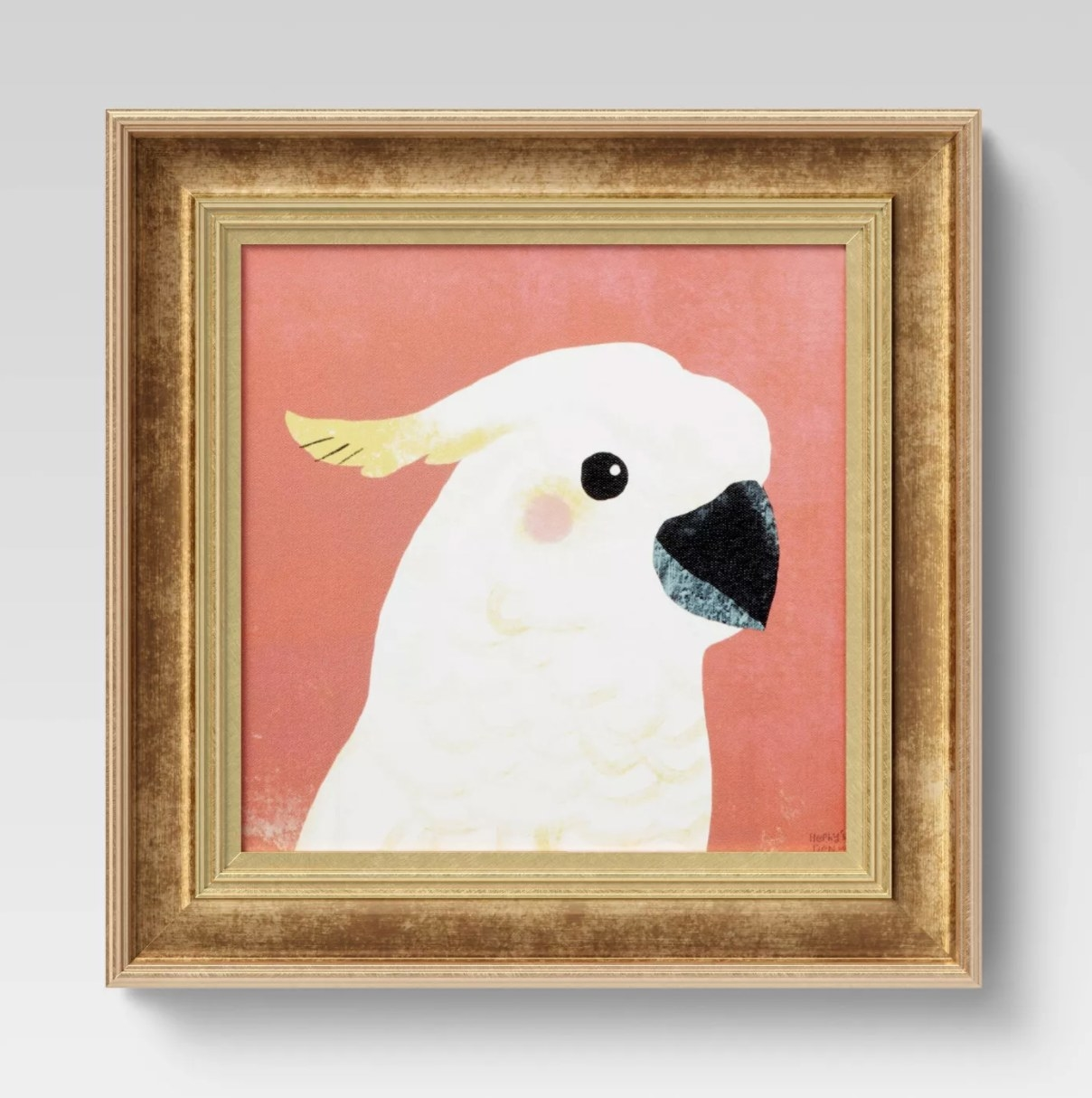 The cockatoo recessed frame with a blush background