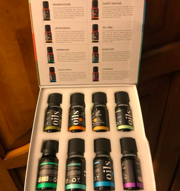 A reviewer photo of the box of essential oils