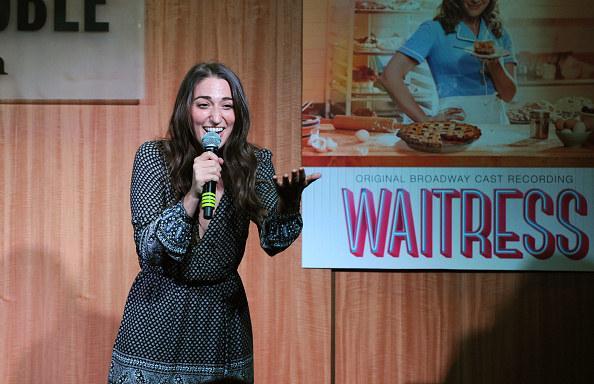 Sara Bareilles talking at a Waitress event