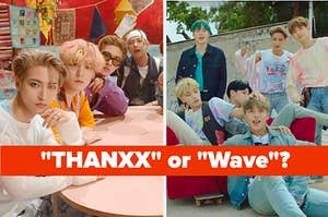 Images of ATEEZ from the music videos for Thanxx and Wave