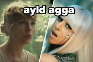 Taylor Swift is on the left with Lady Gaga singing on the right labeled,