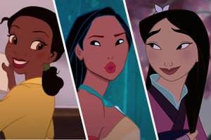 Tiana, Pocahontas, and Mulan