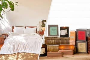 to the left: a comfy plush white bed, to the right: an array of library candles