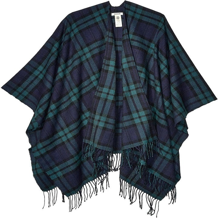 A green and blue plaid blanket shawl with a fringe hem