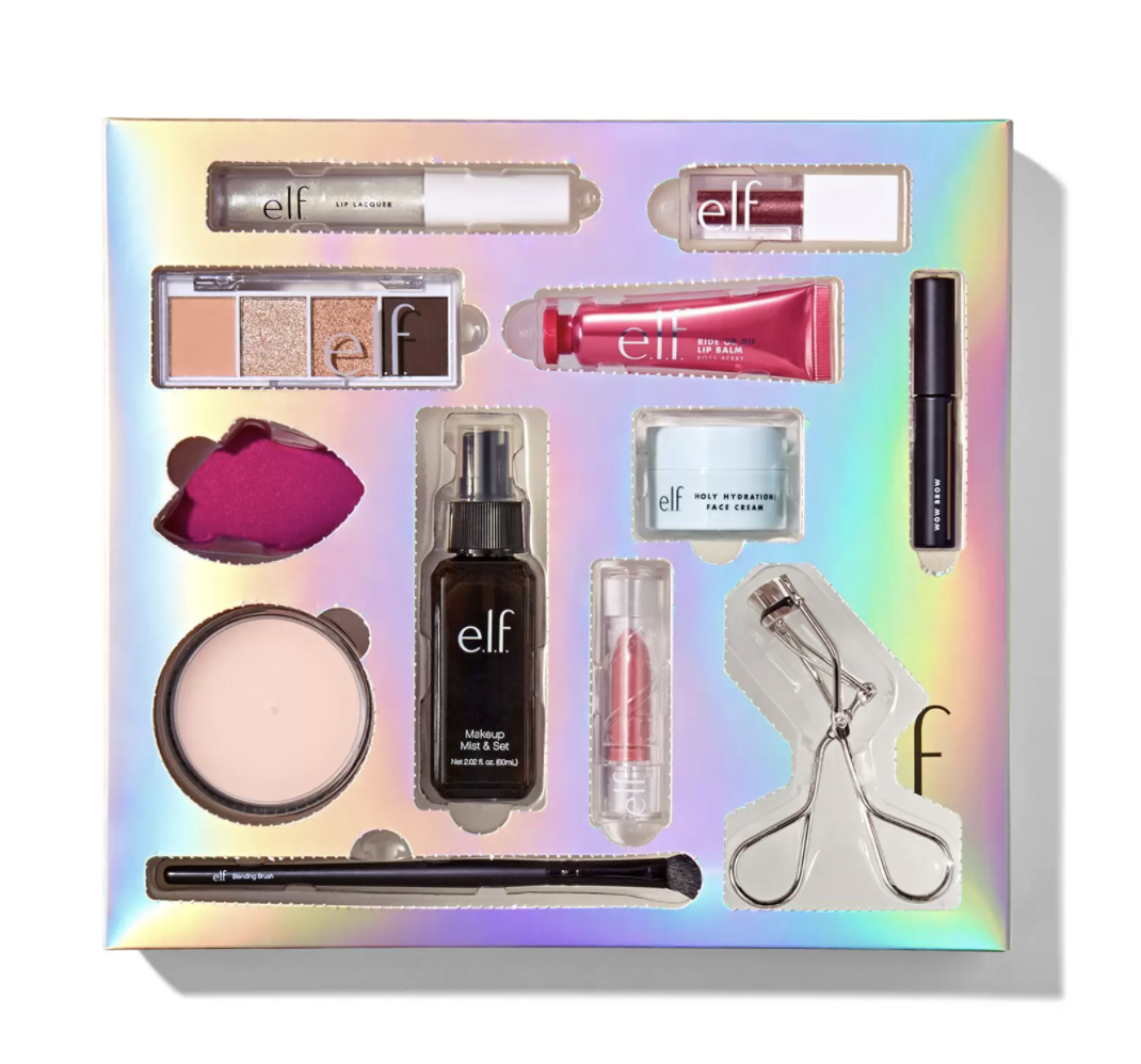 an iridescent calendar filled with beauty products