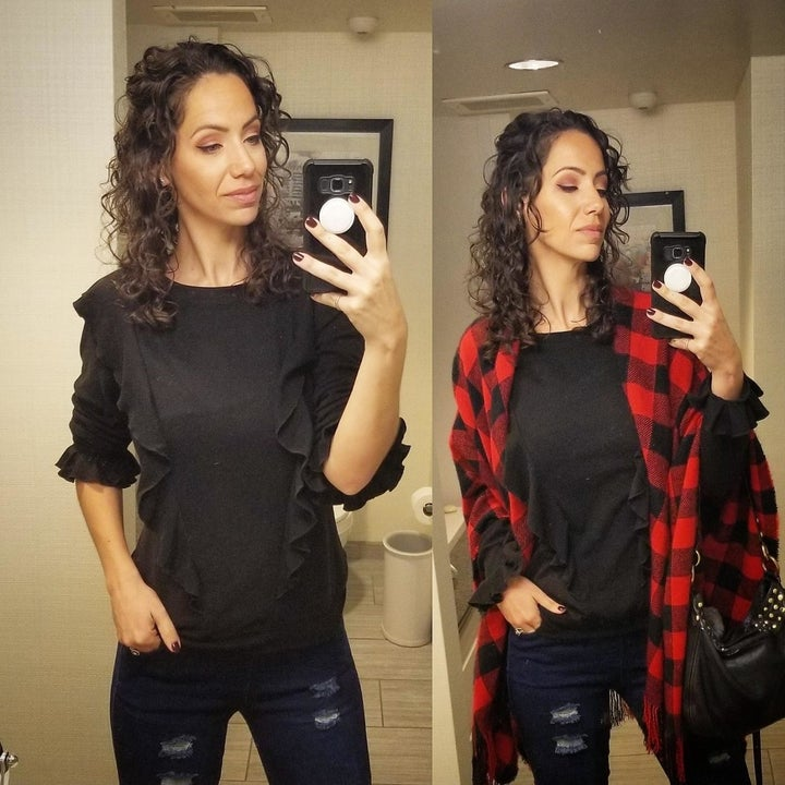 Two mirror selfies of a reviewer showing her outfit before and after adding the red plaid blanket wrap