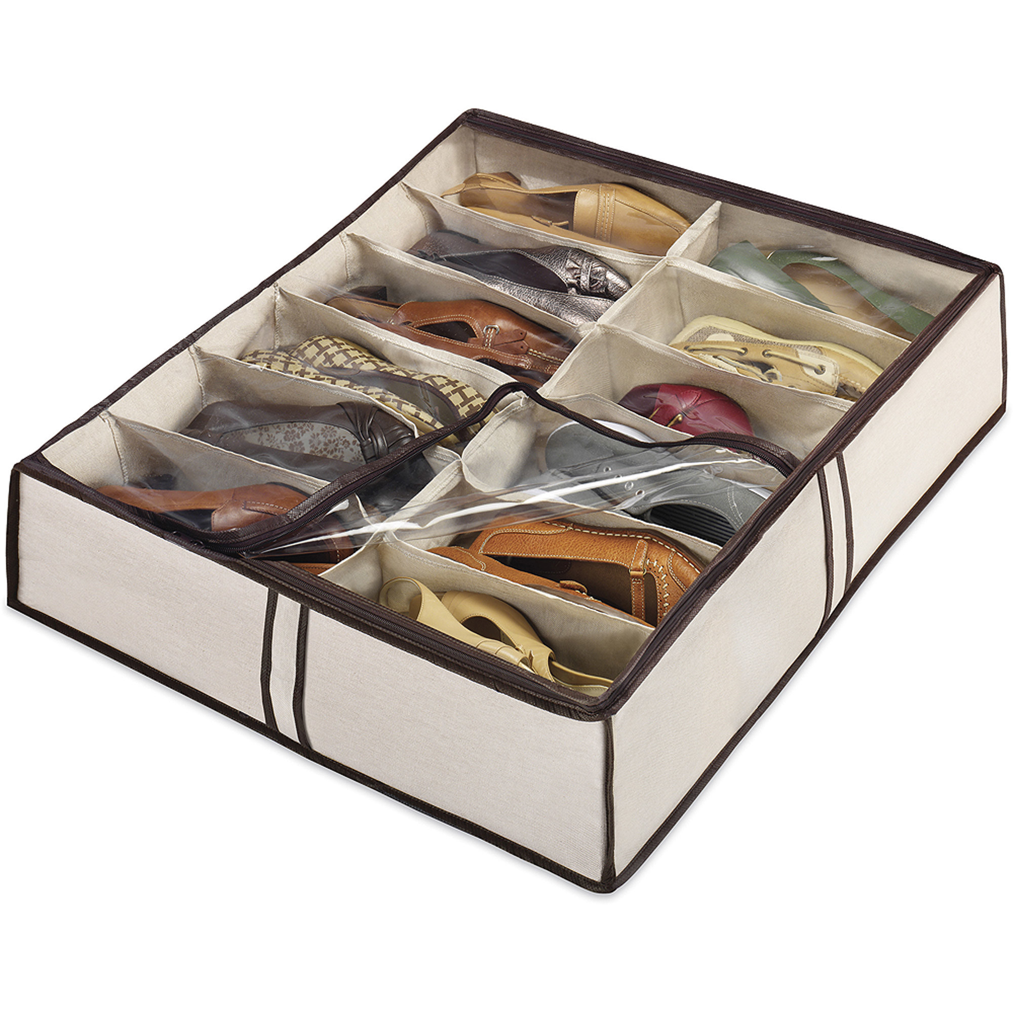 a zippered shoe bag with 12 pairs of shoes in it