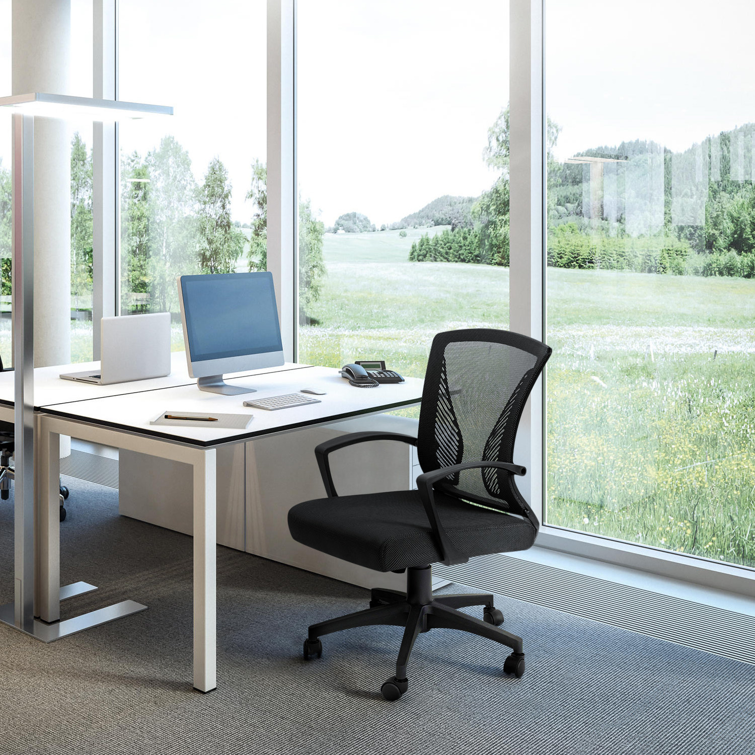 black office chair at a desk