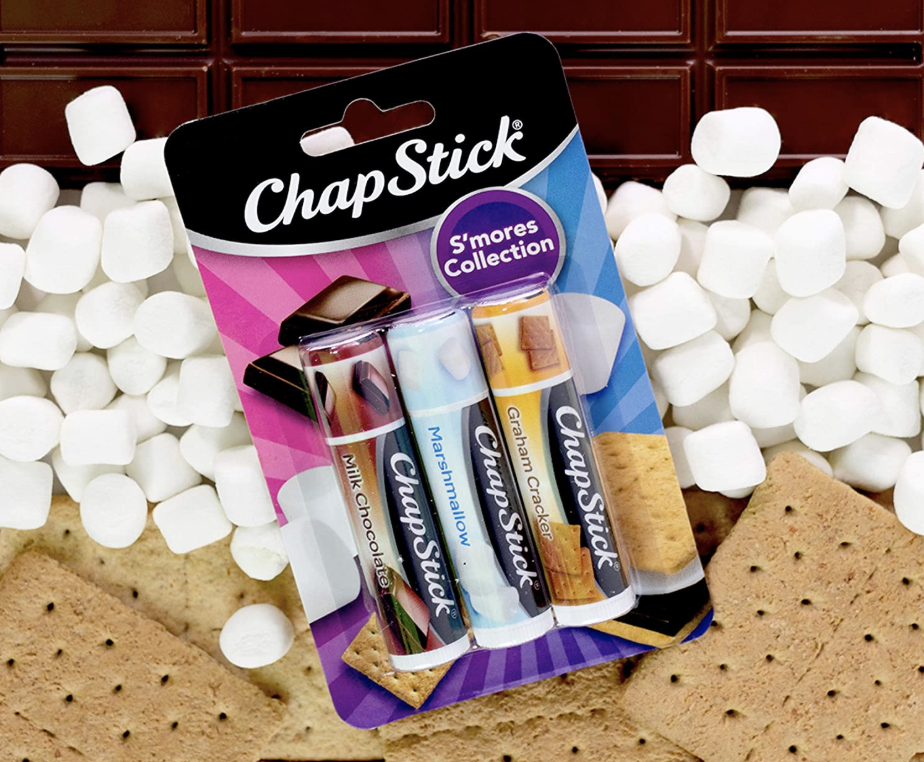 A chapstick case with milk chocolate, marshmallow, and graham cracker flavored chapsticks