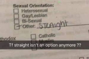 person filling out sexual orientation and they're mad because they cant find straight