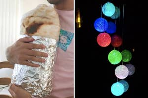 On the left, reviewer 'takes bite' out of burrito blanket. On the right, rainbow solar chime in the dark
