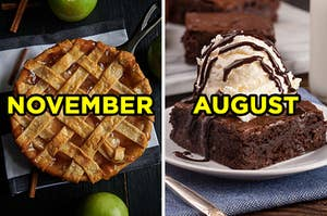 "On the left, an apple pie labeled ""November,"" and on the right, a brownies sundae with hot fudge labeled ""August"""