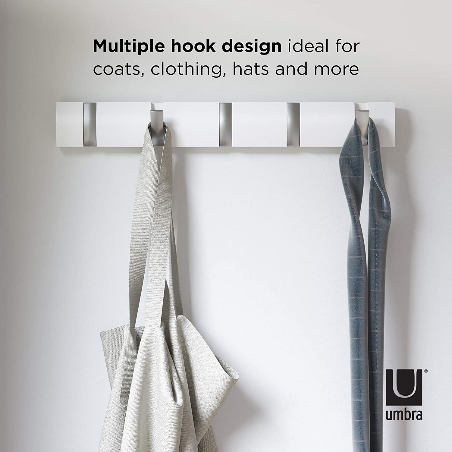 The five-hook shelf holding a bag and a scarf
