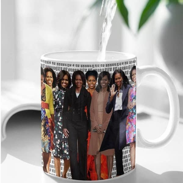 The mug featuring various pictures of Michelle Obama