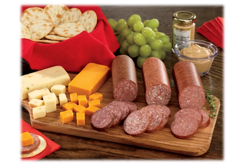 the sausage set served with cheese and fruit