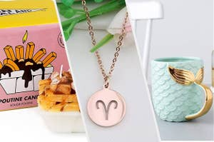 A split screen of a poutine candle a necklace with a zodiac sign and a mermaid mug