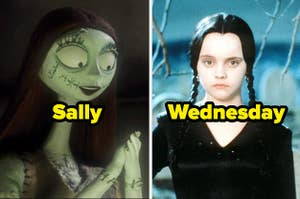 Sally from The Nightmare Before Christmas and Wednesday Addams from The Addams Family