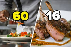 """A man is tasting food on the left labeled """"60"""" with lamb chops on the right labeled, """"16"""""""
