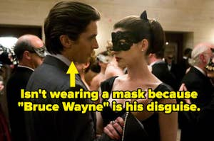 Bruce Wayne not wearing a mask at a ball, captioned