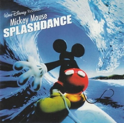 The cover for Mickey Mouse Splashdance which feautres Mickey's back to us as he surfs a wave at night
