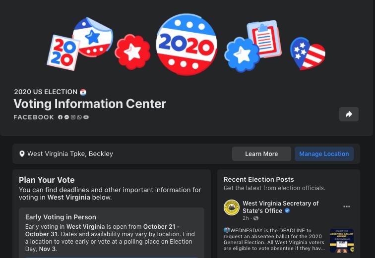 A screenshot of Facebook's Voting Information Center