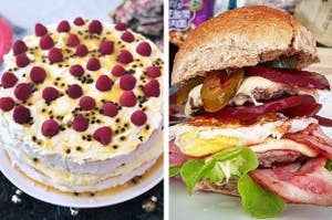 Side by side of pavlova and a beetroot burger