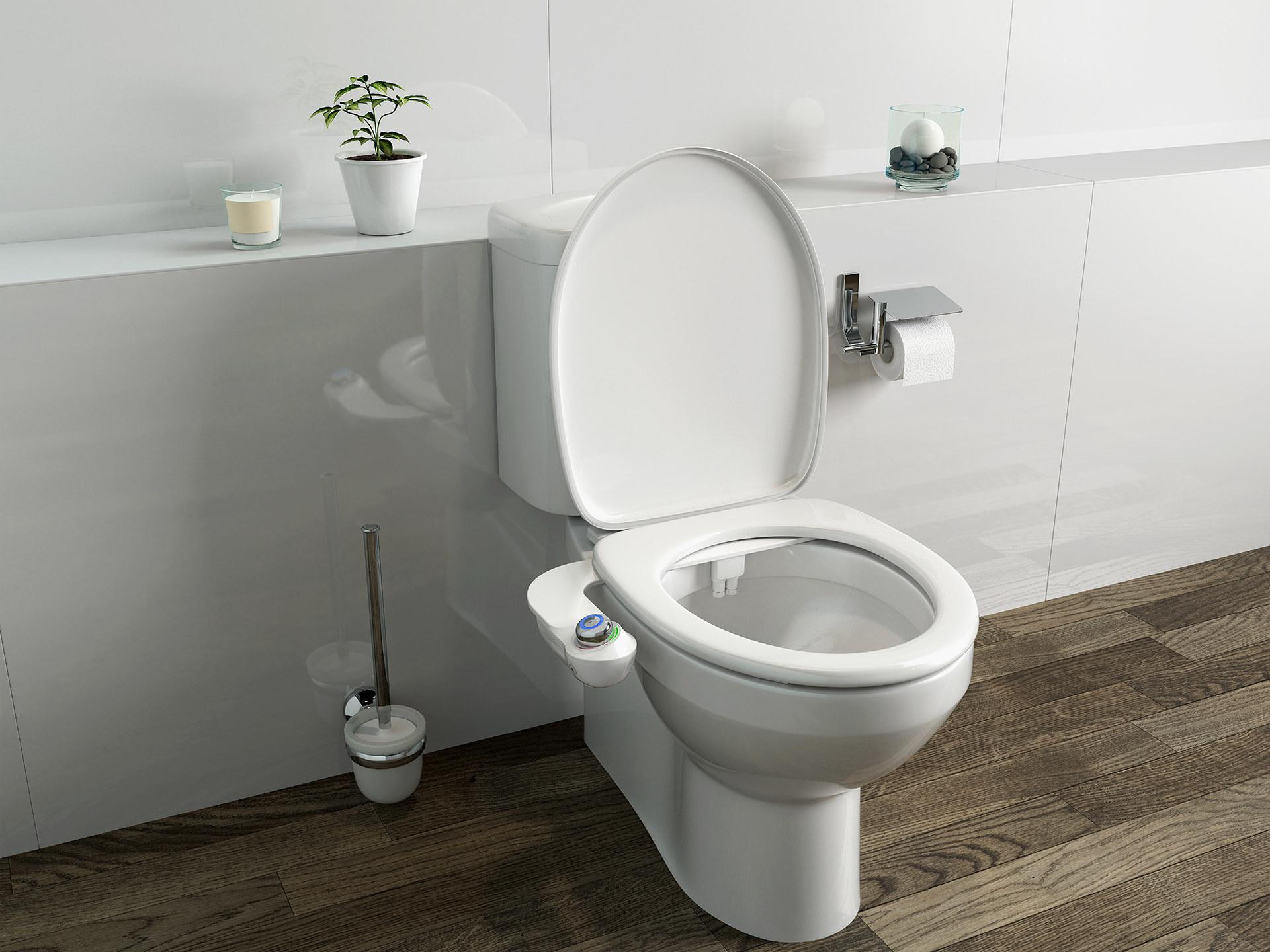 white porcelain toilet with a white bidet attachment