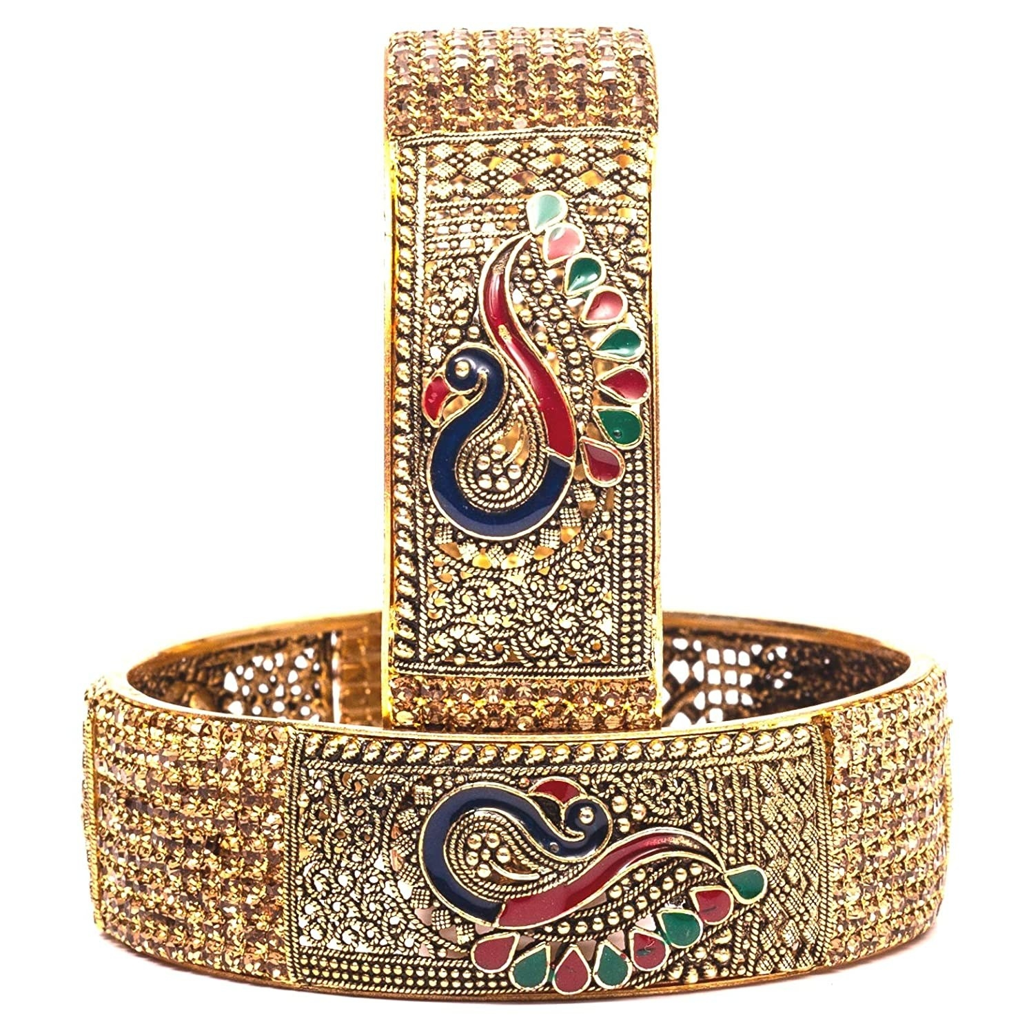 Brass bangles with intricate design and a peacock pattern.