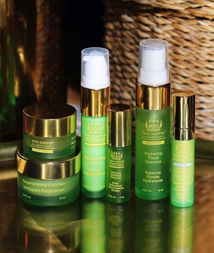 Tata Harper cleanser, serum, eye cream, facial oil, mask, and moisturizer