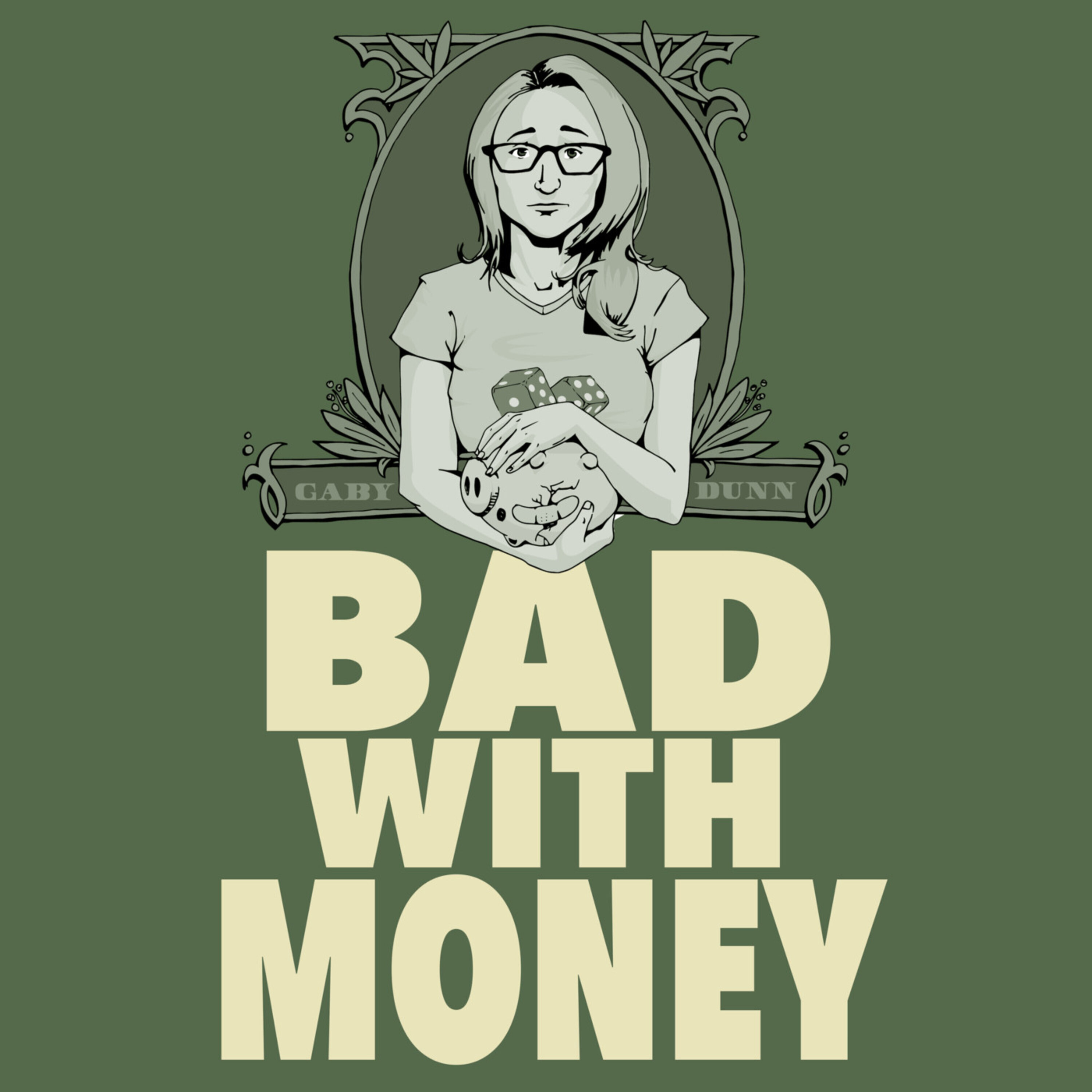 """illustration of a confused looking woman with title """"Bad With Money"""""""