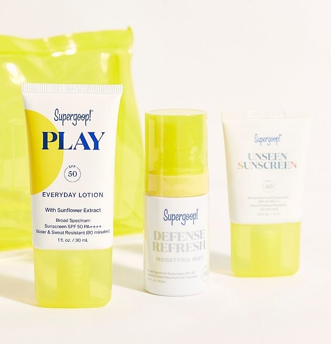 Supergoop! lotion, resetting mist, and sunscreen