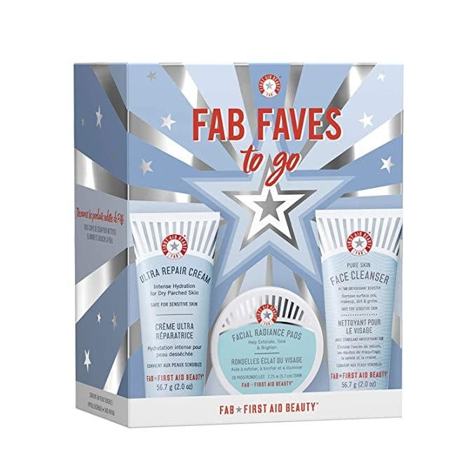 First Aid Beauty's full FAB Faves kit in its original packaging