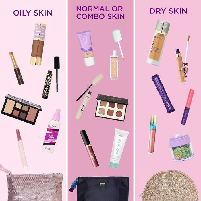 a mixture of beauty products for oily, combo/normal, or dry skin