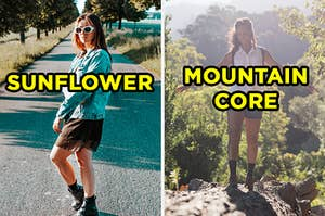 "On the left, someone standing in the road wearing retro sunglasses, a dress, a denim jacket, and combat boots labeled ""sunflower,"" and on the right, someone standing on a mountain wearing hiking boots, cargo shorts, and a backpack labeled ""mountain core"""
