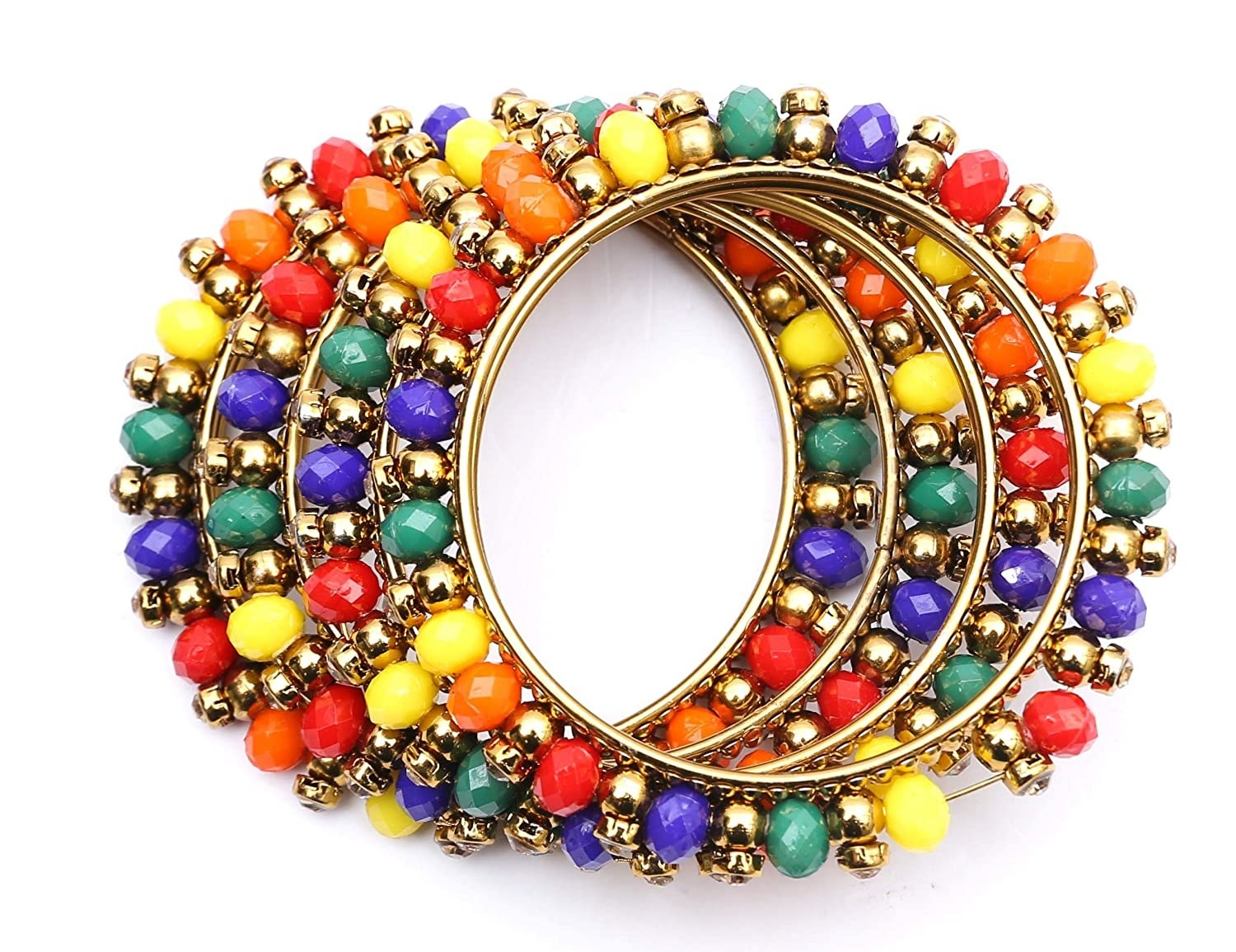 Bangles with colourful beads on the outside.