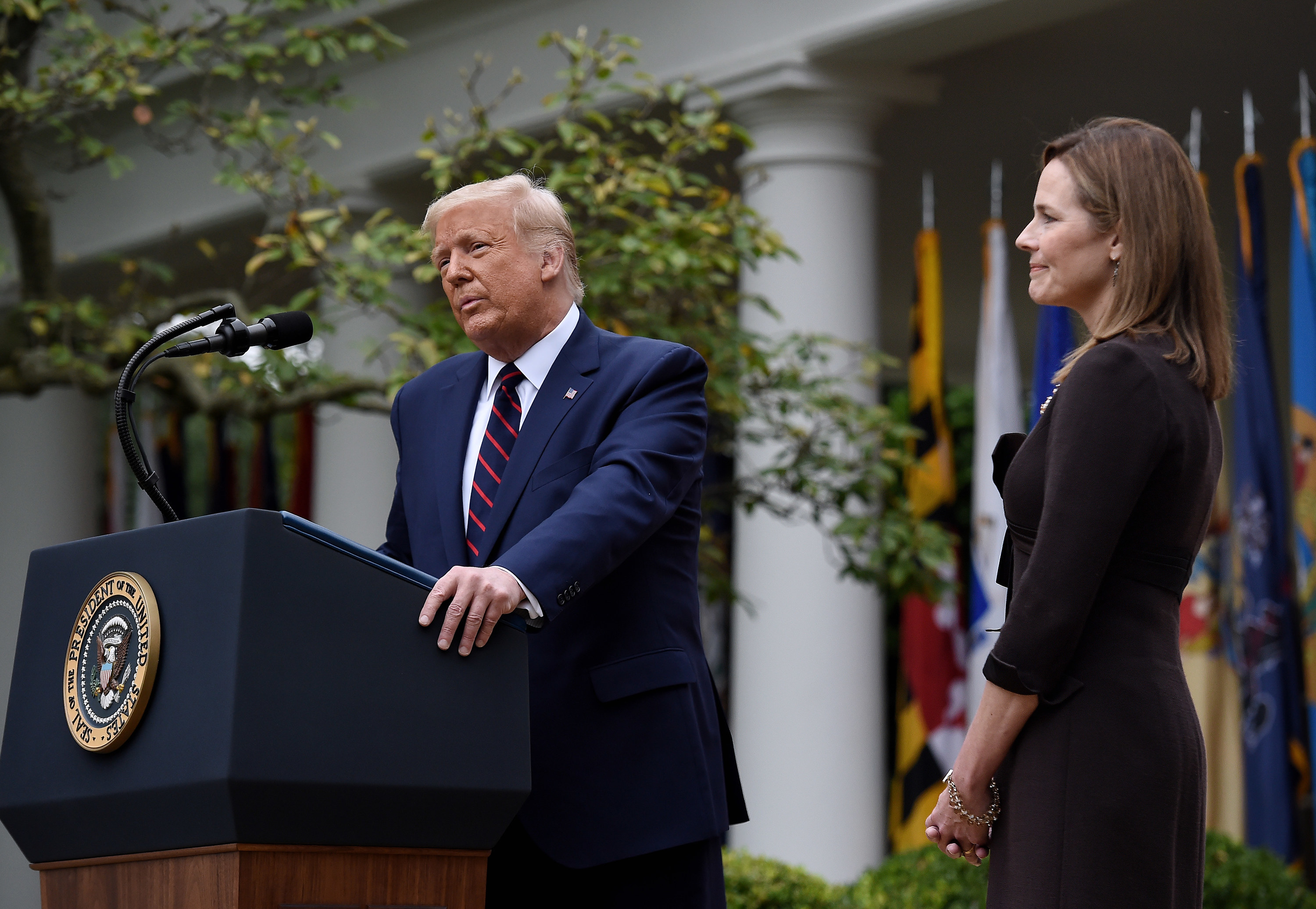 President Donald Trump and Amy Coney Barrett at the White House