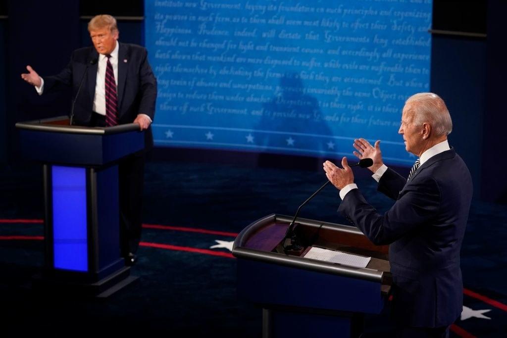 President Trump and former Vice President Biden speaking at the debate