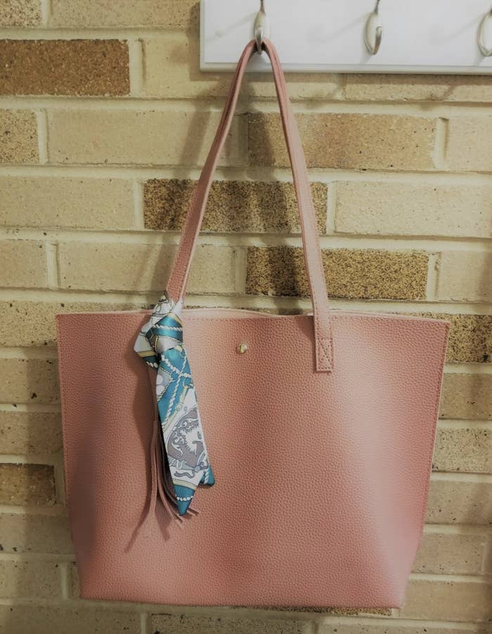 reviewer photo of the pink tote bag