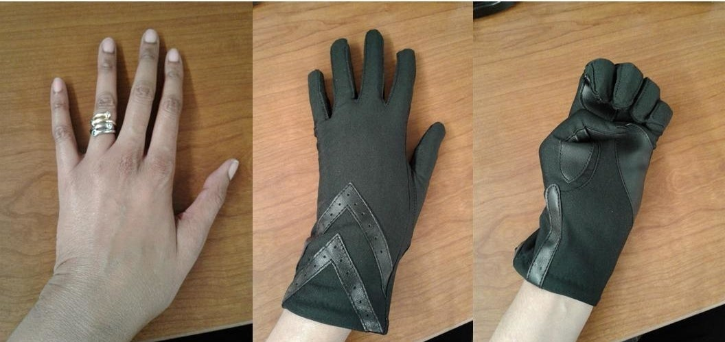 Reviewer image of their hand in the isotoner touch screen gloves