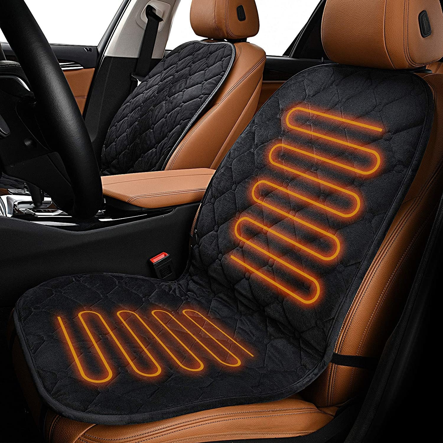 Seat covers added to seats in car