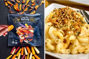 Organic carrot snacks are on the left with a plate of mac and cheese on the right