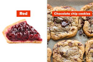 Red cherry pie and chocolate chip cookies
