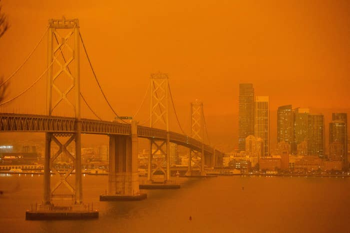 San Francisco cityscape covered in an orange haze