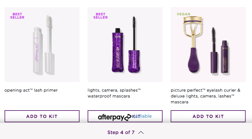 a screenshot of three of the makeup products available