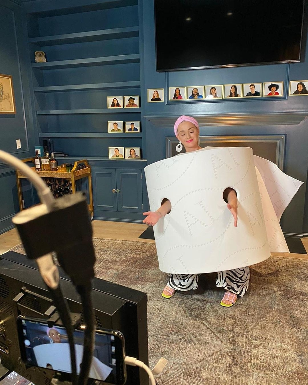 Katy posing in a toilet roll costume