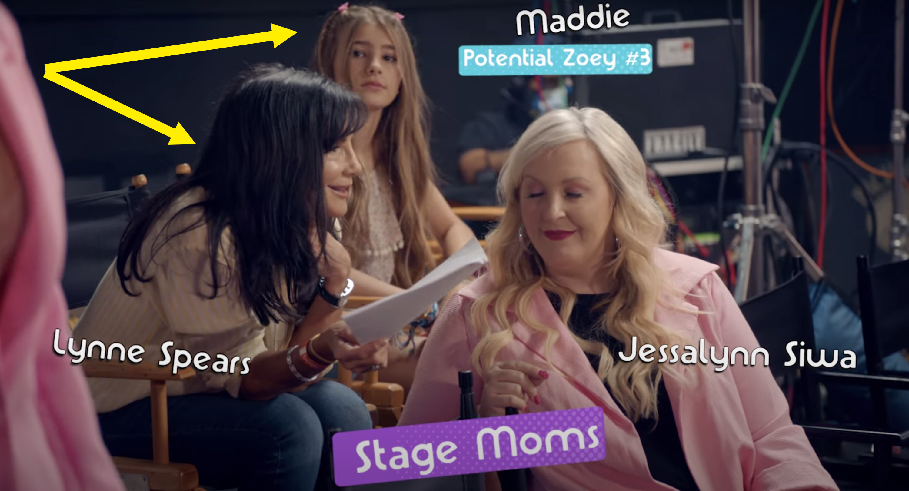 Lynne and Maddie watch the filming of the video