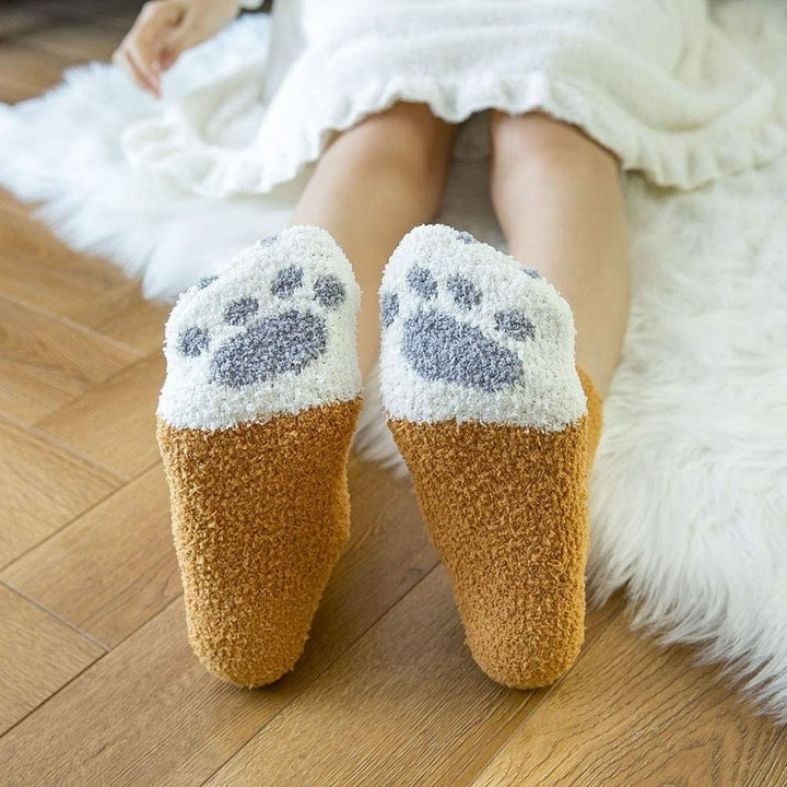 Bottom of socks with paw print