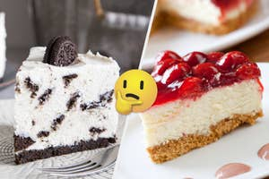 On the left, a slice of Oreo cheesecake, and on the right, a slice of cheesecake topped with strawberries with a thinking emoji in the middle of the two slices