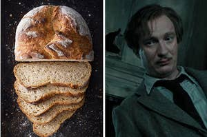 A sliced loaf of bread on the left and remus lupin on the right