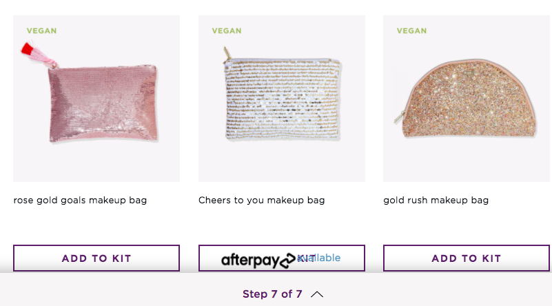 a screenshot of three of the bag options available